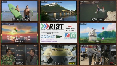 At the IBC 2018 show, RIST members from all over the world streamed content over the internet to a bank of Cobalt 9990-DEC-MPEG decoders at Cobalt headquarters in Champaign, Illinois. The resulting feeds were combined into a mosaic using the Cobalt 9970-QS multiviewer and published to YouTube using the Cobalt 9223 encoder.
