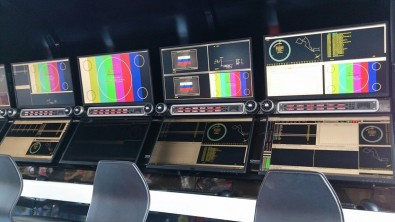 Photo of Race Control where multiple operators can access key officials throughout the race track and arena.