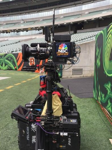 Germond's typical Steadicam kit for NBC Sports.