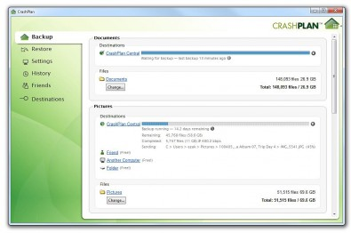CrashPlan backup onscreen application