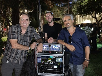Sound Utility Nick Carbone (left), Boom Operator Jack Hill (center) and Sound Mixer Aponte (far right) on the set of