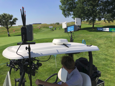 Most golf tournaments rely on fixed fiber installed at key points on a course. This golf cart is equipped with reliable and high-quality RF links to enable live video from any golf course location.
