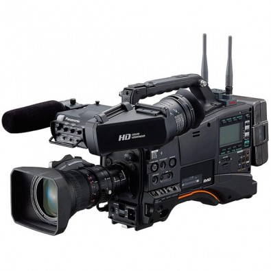 The Panasonic AJ-PX380 is a traditional small-format shoulder-mounted camcorder recording P2 to mini and full-size memory cards.