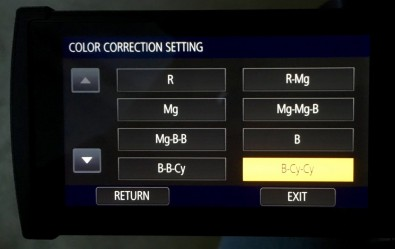 Color corrector menu. The DVX200 touchscreen offers a broad choice of resolutions and frame rates in addition to fine control of gamma, color correction, matrix, among other professional parameters.