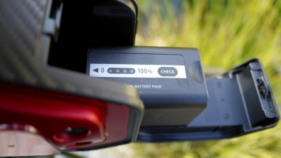The camera battery can be changed easily and quickly via the rear drop down door.