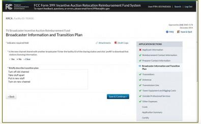 Figure 2. Screen shot of the FCC's beta reimbursement form.  (Click to enlarge).