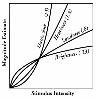 Figure 1: Power Law for various types of stimuli.