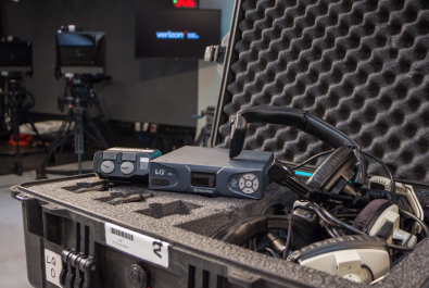 Verizon sends out pre-configured fly packs of Intercom gear to each location participating in a particular corporate production. Crews use RTS headsets and belt packs in tandem with a Clear-Com LQ IP interface unit.