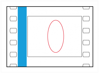 Figure 5: CinemaScope uses (very nearly) the Academy frame. The red object is circular in reality and has been compressed by the lens.