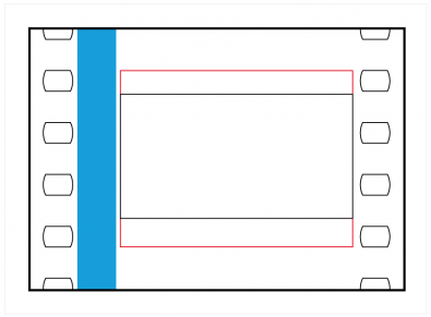 Figure 6: The black area is cinema widescreen, the format that defined most of the late twentieth century. The Academy area is show in red.