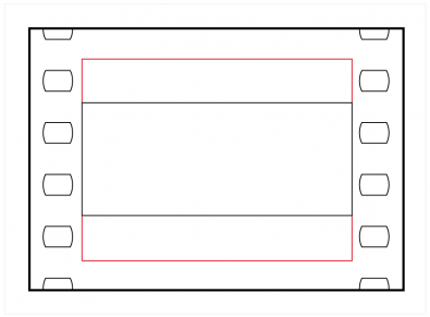 Figure 7: Superscope 235 was an attempt to maximise image quality when shooting for wider screens without anamorphic lenses. It uses the whole silent aperture (shown in red), on the basis that almost all films are now finished digitally and the space for optical sound need not be reserved in camera.