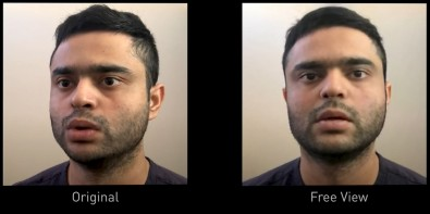 The Free View feature can animate a face to artificially make eye contact with each person. Courtesy NVIDIA.