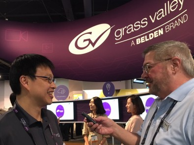 Atsushi Kataoka, director of product management, editing systems at Grass Valley, (left), interviewed by Jay Ankeney.