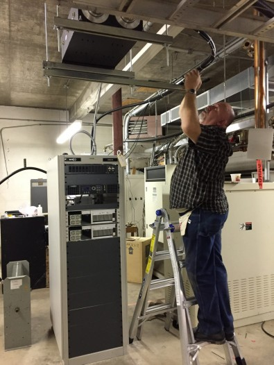 GatesAir installer Carl Williams connects a channel 49 mask filter to a new Maxiva transmitter in Missouri.<br /><br />