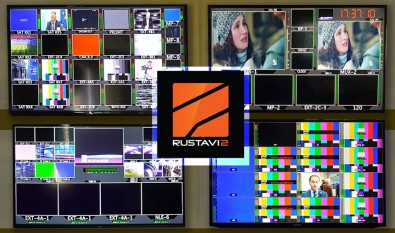A presentation display at Rustavi 2's studio headquarters in Tbilisi.