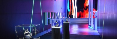 The center's entrance corridor features lighting effects and audio synced to, and anchored by, an 18'x'10' Samsung LED video wall and is adorned with Technical GRAMMY Awards presented to HARMAN brands JBL Professional (2005), AKG Acoustics  (2010) and Lexicon Pro (2014).