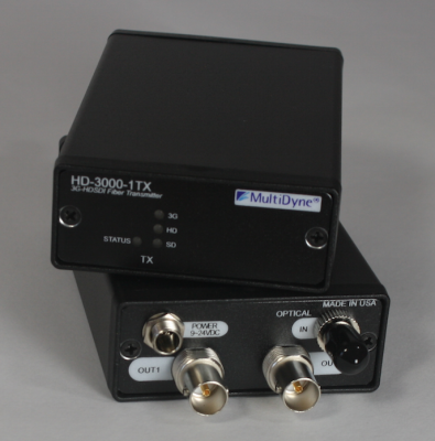 MultiDyne's HD–3000 Series of 5 to 2970 Mbps Serial Digital Video Fiber Optic Transport Links support all common video formats, including the 1080p (3 Gbps) HD format.