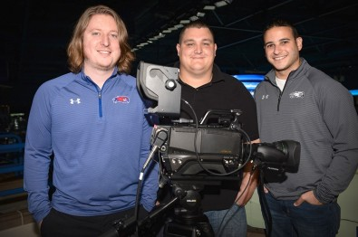 The video team at the Tsongas Center at the University of Massachusetts Lowell with one of their Hitachi Kokusai Z-HD5000 cameras. <br />L-to-R: Nolan Mercer, Ben Jewart and Sebouh Majarian.