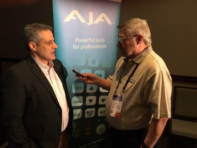 Nick Rashby, President of AJA Video Systems (left) being interviewed by Jay Ankeney, The Broadcast Bridge (right).