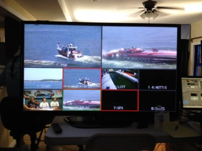 The 2014 Ozark Lake Shootout champion blasted through the finish-line at 244 MPH, setting a new speed record at the event. This boat flipped at high speed, severely damaging the stern as shown in the control room monitor.