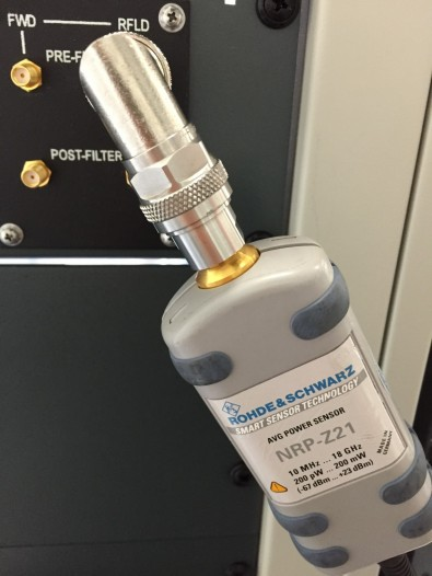 A Rohde & Schwarz NRP-Z21 AVG Power Sensor provided the means to measure forward and reflected, pre- and post-filter power outputs in the RF chain on the same laptop used to access the transmitter's GUI.