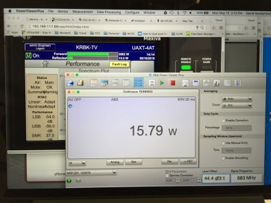 Testing began with exciter forward power output measurement.