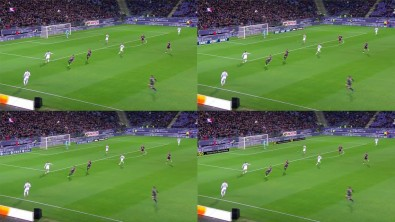 Look closely, in this soccer game from Atlanta, the ads flanking the goal net in each of these otherwise identical shots are tailored for different audiences. (Click to enlarge.)