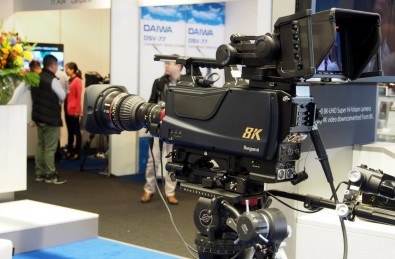 Ikegami displayed its SHK-810 portable 8K camera, developed in collaboration with Japan Broadcasting Corporation (NHK). The SHK-810 incorporates a 33 million-pixel Super 35 CMOS single sensor delivering 4,000 television lines of horizontal and vertical resolution.