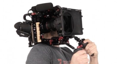 Figure 2: GY-LS300 mounted on a Zacuto shoulder base-plate