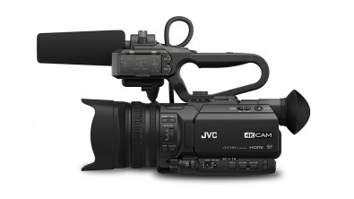 The GY-HM200SP camcorder, with its 1/2.3-inch BSI CMOS imager, delivers 4K Ultra HD, 4:2:2 Full HD (50 Mbps), and SD footage all from the same body.