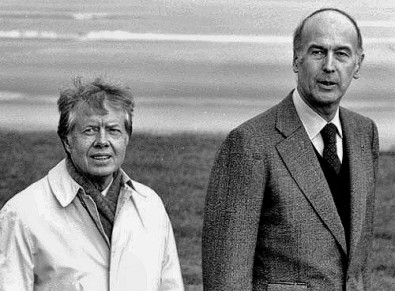 President Jimmy Carter and French President Valery Giscard d'Estaing, Bayeux, France, 1978.