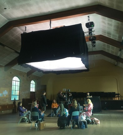 Gaffer, Russell Fewtrell, to build a lighting rig into the ceiling to act as a large soft source. Image courtesy Judd Overton.