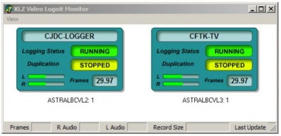 The Video Monitor window reports logging and duplication status, audio metering and framerate.