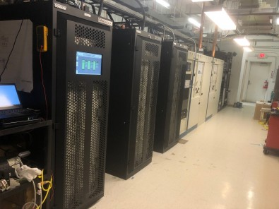 New Comark Parallax U42 UHF transmitter at KPXE has 3 cabinets, each with 14 PAs, for 68kW TPO.