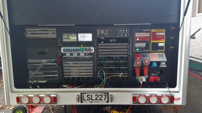 Rear truck connector panels provide rapid setup and tear down along with monitoring for the field crew. Click to enlarge.