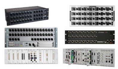 Figure 2. Modular stageboxes offered by a variety of manufacturers.