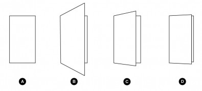 """Figure 1. At a) a closed door seen on axis is rectangular. If the door is opened and shot from very close by, the perspective is strong b), reduced at a """"normal distance"""" c) and flattened at an extreme distance d)."""