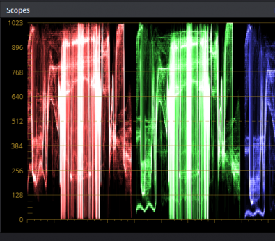 Figure 1: Camera data waveform viewed in Resolve.