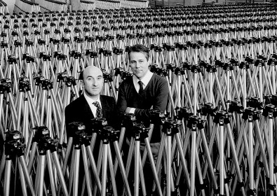 Lino Manfrotto (left) and Gilberto Battocchio combined talents to launch the Manfrotto brand of tripods in 1972.