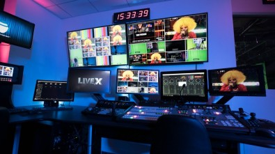 The Master Control Room at LiveX features a Blackmagic Design Atem 4K switcher.