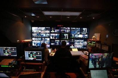 The Live X master control room aboard the on-site production truck, where final editing was performed before video was published online via a dedicated Verizon Fios line.