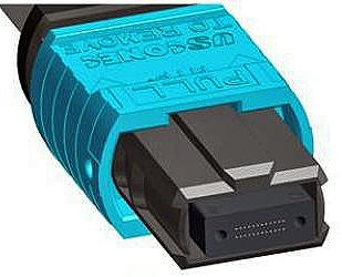 A Multi-fiber Push On (MPO) connector.