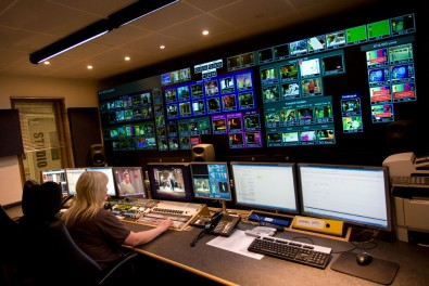 The MTV International control room features Evertz MVP multiview processors to keep track of all sources.