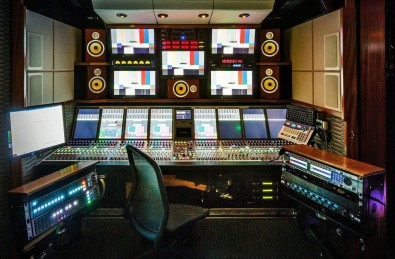 SSCBS audio control room relies on a  Calrec Apollo console for main mixing and a Calrec Artemis for tape release. Click to enlarge.