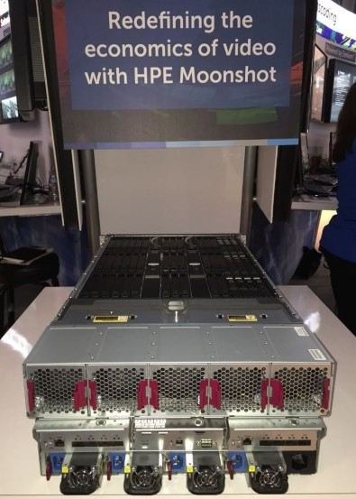 The powerful HPE Moonshot Server in the Imagine Communications exhibit demonstrated its new business relationship with HP.