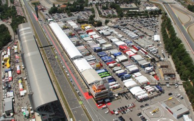 Paddock enclosure at the MotoGP, which includes the TV production areas.
