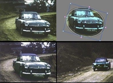 Figure 8: Resolve's Motion-tracking Power Window used to isolate the car while the background was color corrected. Click to enlarge.