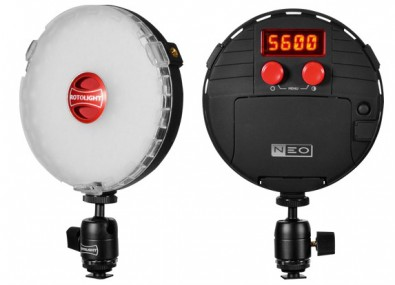 The Rotolight NEO is lightweight and easy to set up. Using the digital readout, the user can set the color temperature over the range of 3150 to 6300 Kelvin.