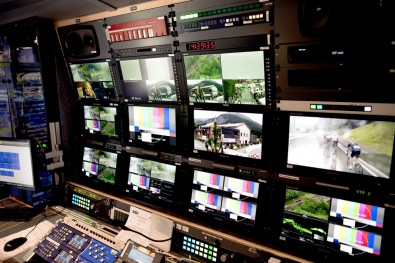 Inside tpc Switzerland ag's OB truck.