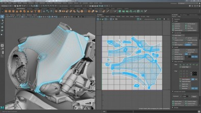 The new UV Editor interface in Maya 2018's new UV Toolkit.